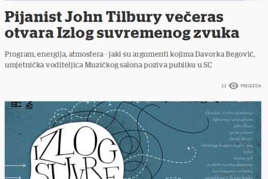 Pijanist john tilbury večeras otvara Izlog suvremenog zvuka(Večernji list)